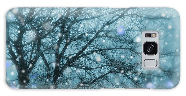 Winter Evening Snowfall Galaxy Case