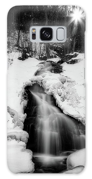 Galaxy Case featuring the photograph Winter Falls With Sun by Alan Raasch