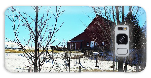 Winter Farm House Galaxy Case