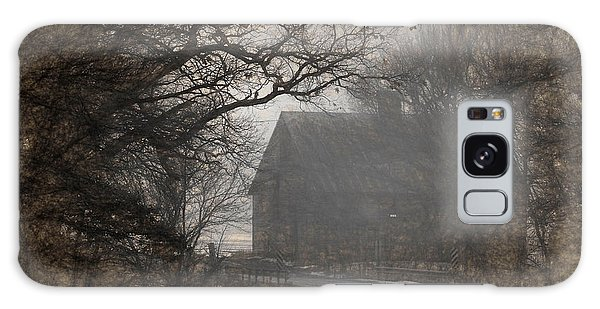 Winter Foggy Countryside Road And Barn Galaxy Case