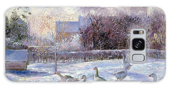 Winter Geese In Church Meadow Galaxy Case