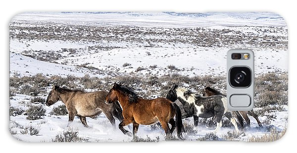 Winter In Sand Wash Basin - Wild Mustangs On The Run Galaxy Case