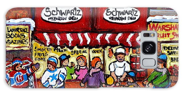 Winter In The City Street Hockey Family Fun Schwartz Deli Rue St Laurent Quebec Artist C Spandau     Galaxy Case