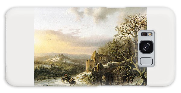 Winter Landscape With Peasants Gathering Wood Galaxy Case