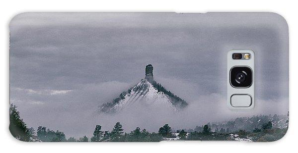Winter Morning Fog Envelops Chimney Rock Galaxy Case