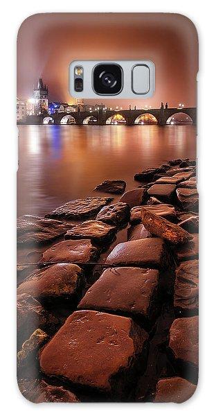 Winter Night Near Charles Bridge In Prague, Czech Republic Galaxy Case