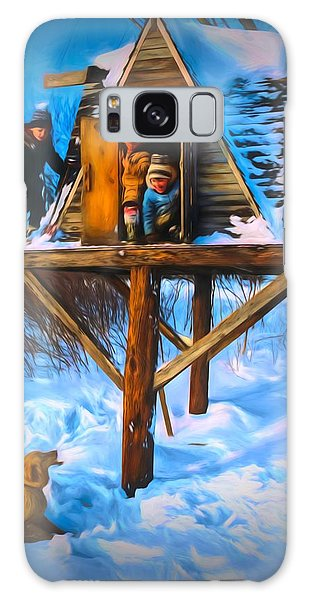 Winter Scene Three Kids And Dog Playing In A Treehouse Galaxy Case