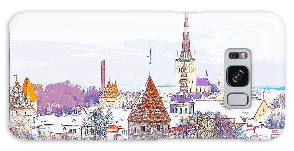 Winter Skyline Of Tallinn Estonia Galaxy Case