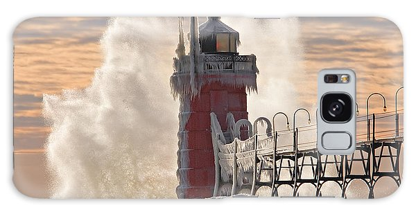 Catwalk Galaxy S8 Case - Winter South Haven Lighthouse by Dean Pennala