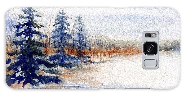 Winter Storm Watercolor Landscape Galaxy Case