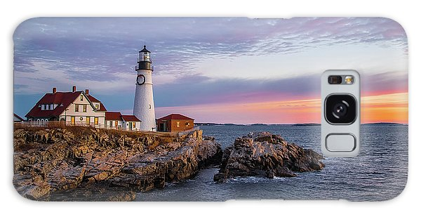 Winter Sunrise Over Portland Head Light Galaxy Case