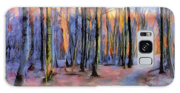 Winter Sunset In The Beech Wood Galaxy Case