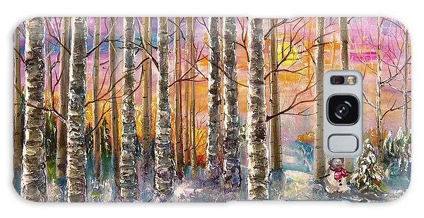 Dylan's Snowman - Winter Sunset Landscape Impressionistic Painting With Palette Knife Galaxy Case