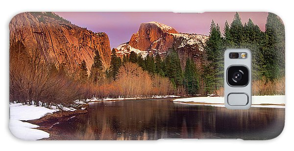 Winter Sunset Lights Up Half Dome Yosemite National Park Galaxy Case