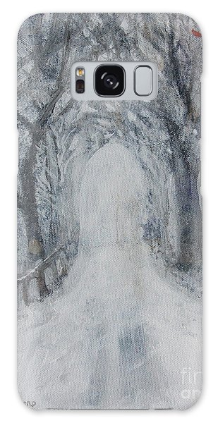 Galaxy Case featuring the painting Winter Tree Tunnel by Robin Maria Pedrero