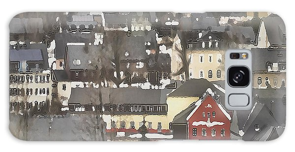 Winter Village With Red House Galaxy Case