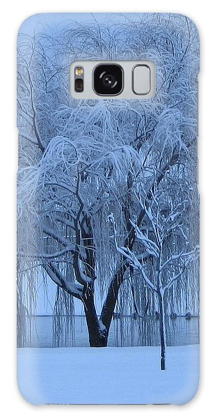 Winter Willow Tree Before Dawn_fort Worth_tx Galaxy Case by Barbara Yearty
