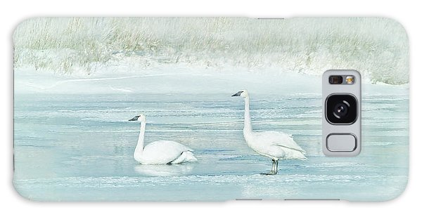 Galaxy Case featuring the photograph Trumpeter Swan's Winter Rest Blue by Jennie Marie Schell
