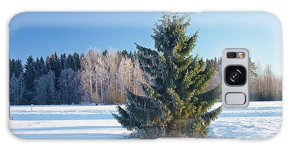 Wintry Fir Tree Galaxy Case by Teemu Tretjakov
