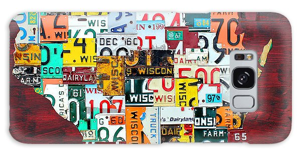 Recycle Galaxy Case - Wisconsin Counties Vintage Recycled License Plate Map Art On Red Barn Wood by Design Turnpike