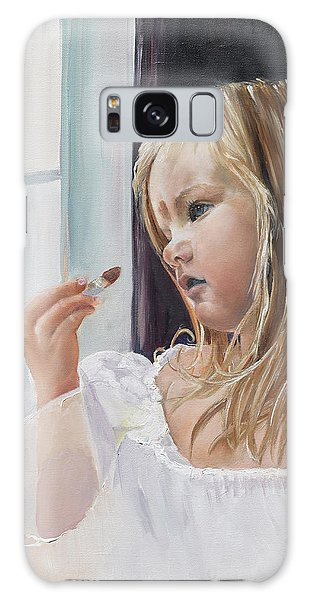 Galaxy Case featuring the painting Wishful Thinking - Megan - Signed by Jan Dappen