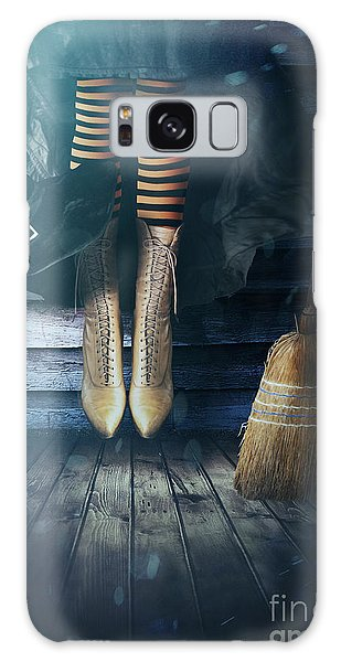 Galaxy Case featuring the photograph Witch's Legs With Broom by Sandra Cunningham
