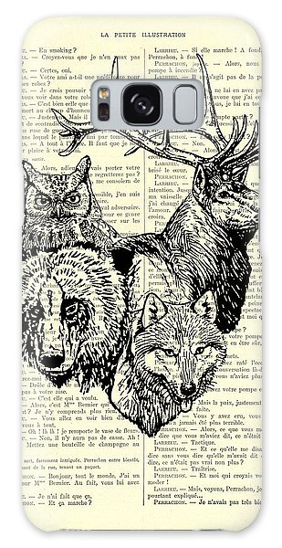 Black Buck Galaxy Case - Wolf, Bear, Deer, Owl Wildlife Animals Black And White by Madame Memento
