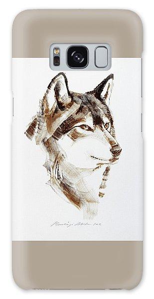 Wolf Head Brush Drawing Galaxy Case