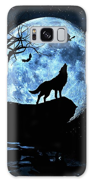 Wolf Howling At Full Moon With Bats Galaxy Case by Justin Kelefas