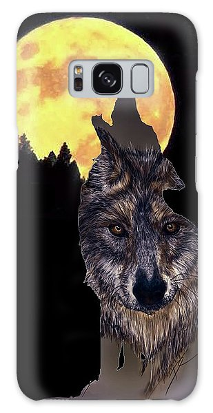 Wolf Howling At The Moon Galaxy Case