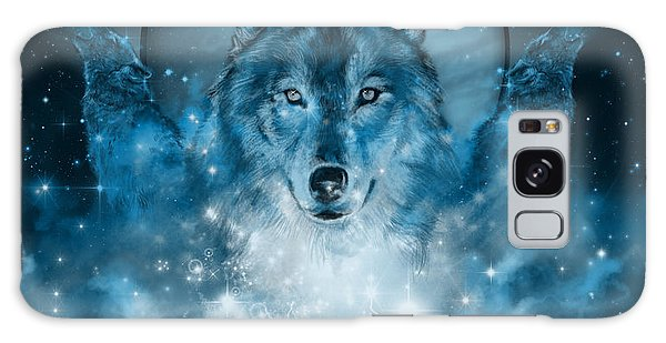 Wolf In Blue Galaxy Case