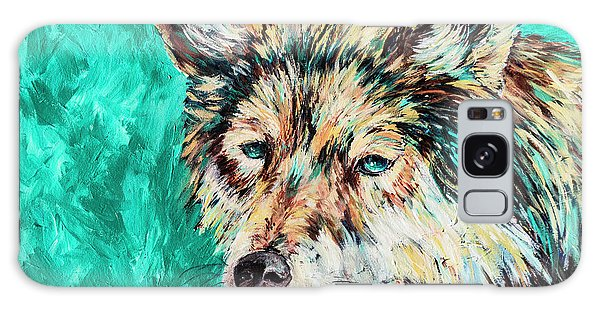 Wolf In Turquoise Galaxy Case