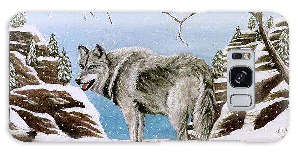 Wolf In Winter Galaxy Case by Teresa Wing