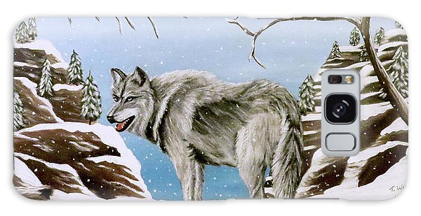Galaxy Case featuring the painting Wolf In Winter by Teresa Wing