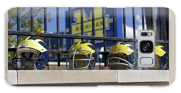Wolverine Helmets Of Different Eras On Stadium Wall Galaxy Case