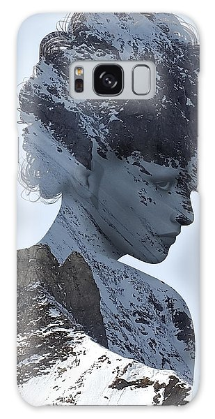 Woman And A Snowy Mountain Galaxy Case