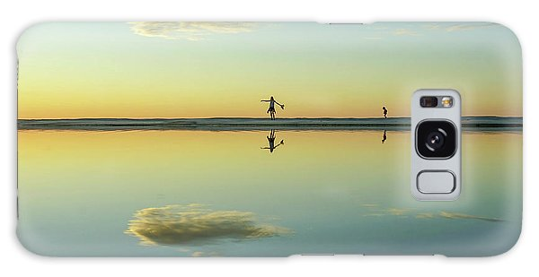 Woman And Cloud Reflected On Beach Lagoon At Sunset Galaxy Case