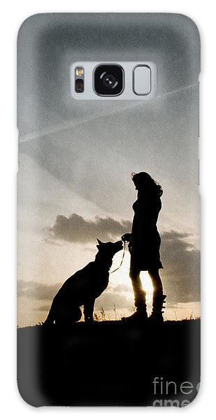 Woman And Dog  Galaxy Case
