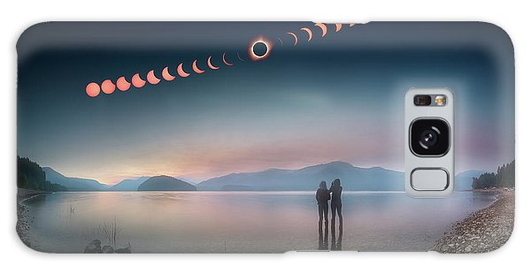 Woman And Girl Standing In Lake Watching Solar Eclipse Galaxy Case