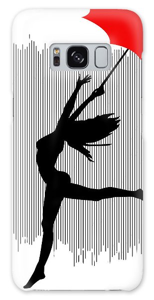 Woman Dancing In The Rain With Red Umbrella Galaxy Case by Serena King