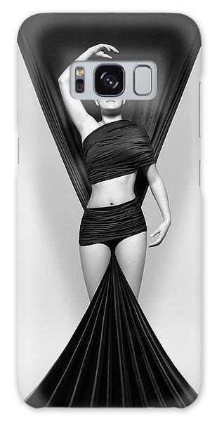 Wrap Galaxy Case - Woman Draped In Black Cloth by Johan Swanepoel