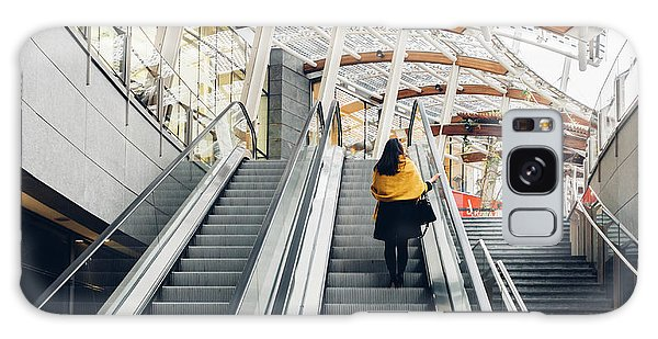 Woman Going Up Escalator In Milan, Italy Galaxy Case