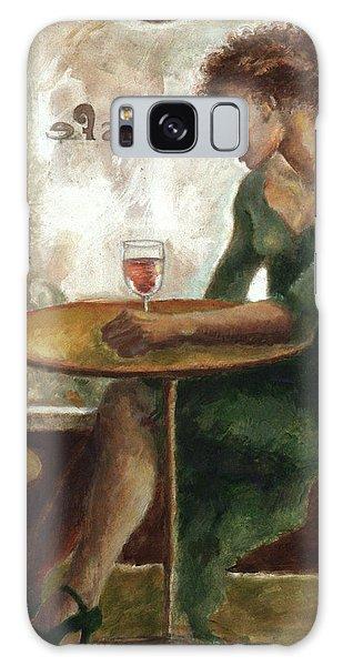 Woman In A Paris Cafe Galaxy Case