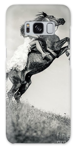 Galaxy Case featuring the photograph Woman In Dress Riding Chestnut Black Rearing Stallion by Dimitar Hristov