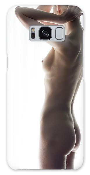 Woman In Front Of Curtain Galaxy Case