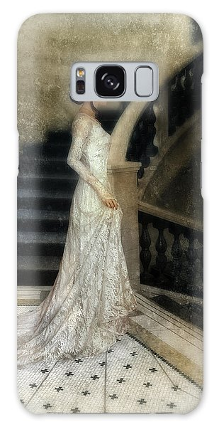 Woman In Lace Gown On Staircase Galaxy Case by Jill Battaglia