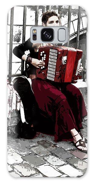 Woman Playing Accordion Galaxy Case
