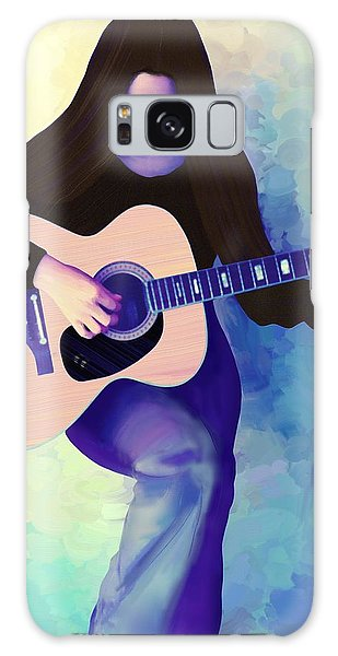 Woman Playing Guitar Galaxy Case