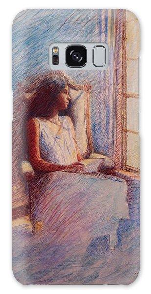 Woman Reading By Window Galaxy Case