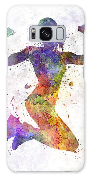People Galaxy Case - Woman Runner Jogger Jumping Powerful by Pablo Romero